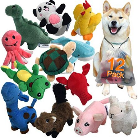 Squeaky Plush Dog Toy Pack for Puppy, Small Stuffed...